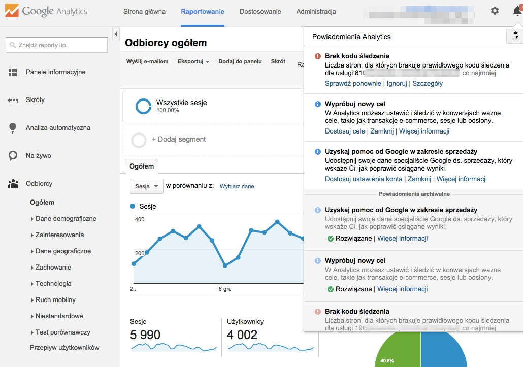 Diagnostyka Google Analytics
