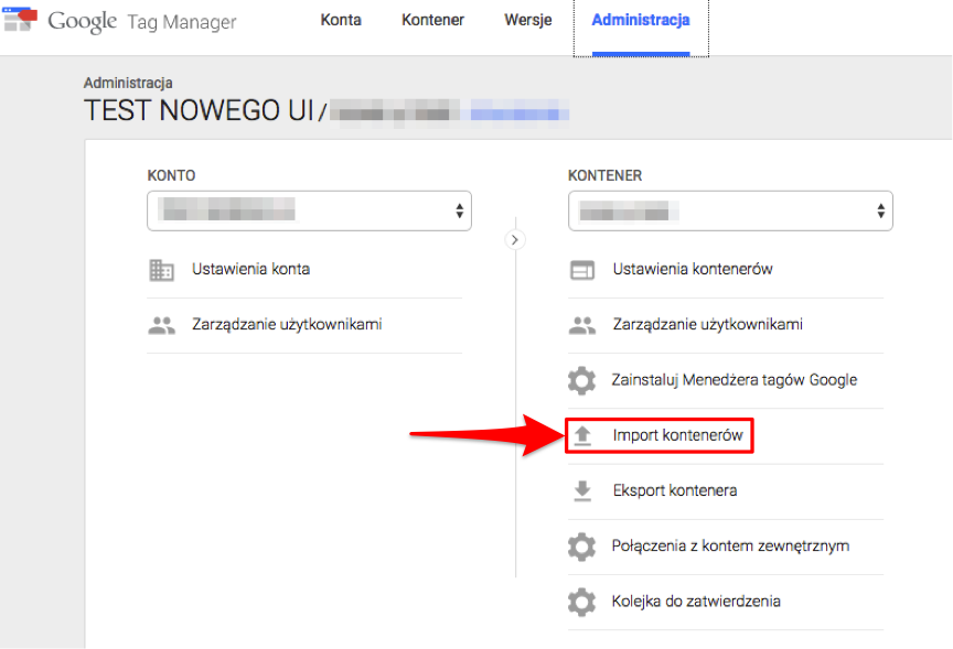 Import kontenera do nowego interfejsu Google Tag Manager