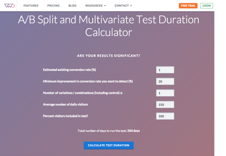Testy A/B: A/B split test duration calculator